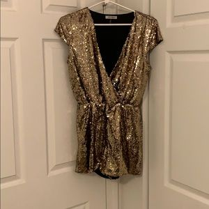 Gold Sequined Romper